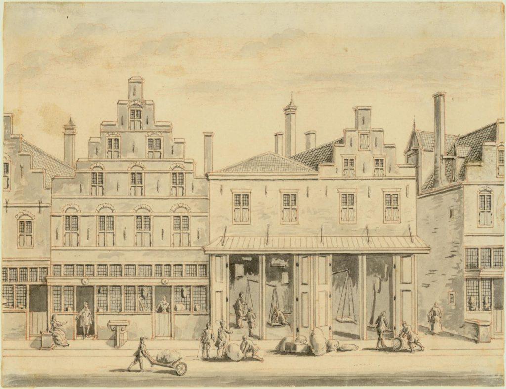 Tekening door Jan Bulthuis van de Waag vóór de verbouwing van 1770. (TMS 68477)