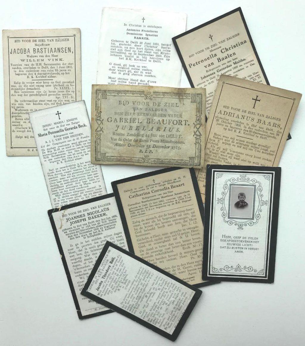 Een bescheiden selectie uit de collectie bidprentjes onder de letter B (bibliotheek)