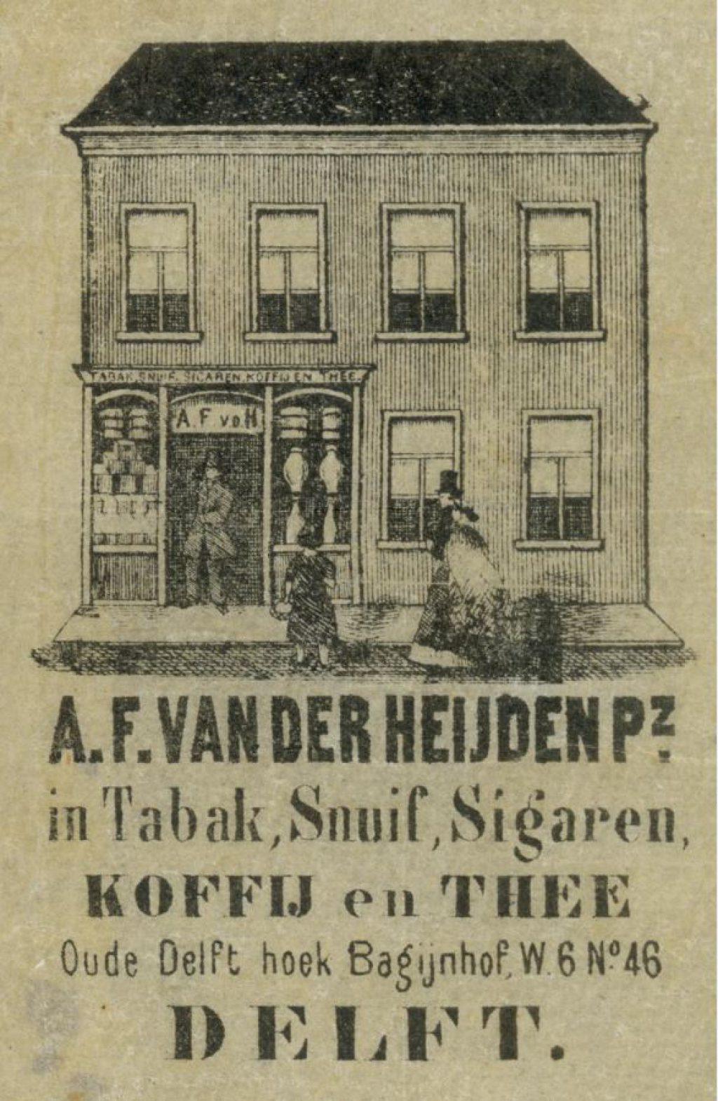 Tabakszakje A.F. van der Heijden Oude Delft hoek Bagijnhof, ca. 1870. (TMS 23982)