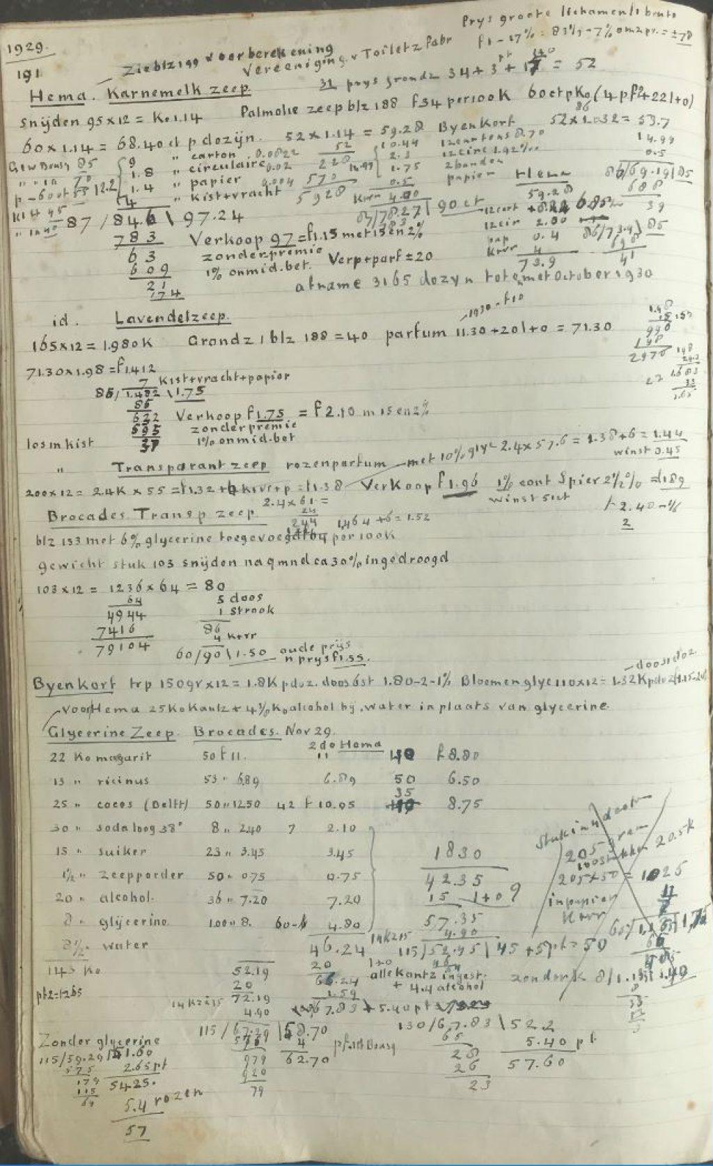 Recepten voor producten Zeepfabriek Bousquet, 1917-1935. (Archief 945 inv.nr 14)
