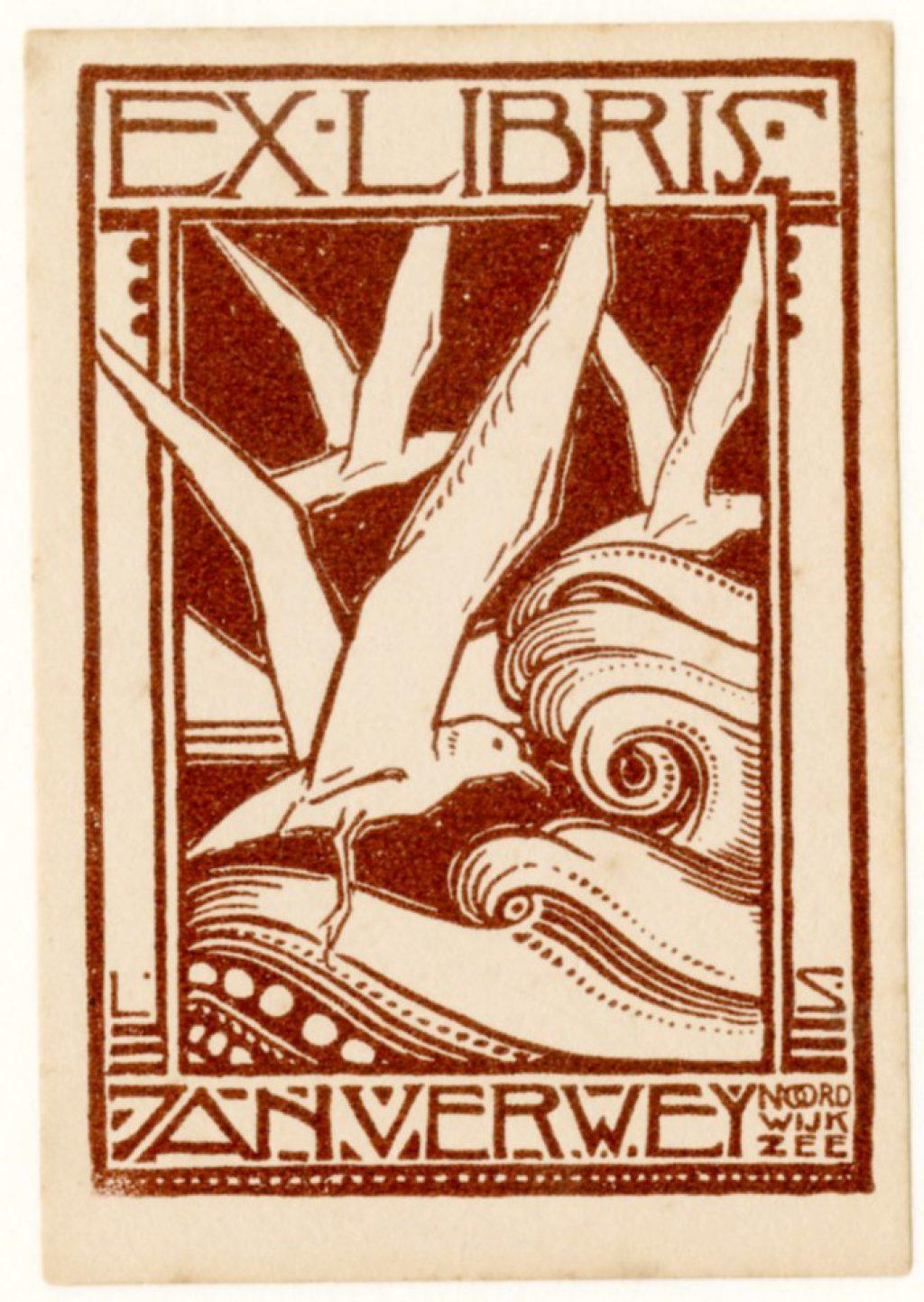 Ex librissen: Voor Jan Verwey door Leon Senf, ca. 1920 (TMS 128755).