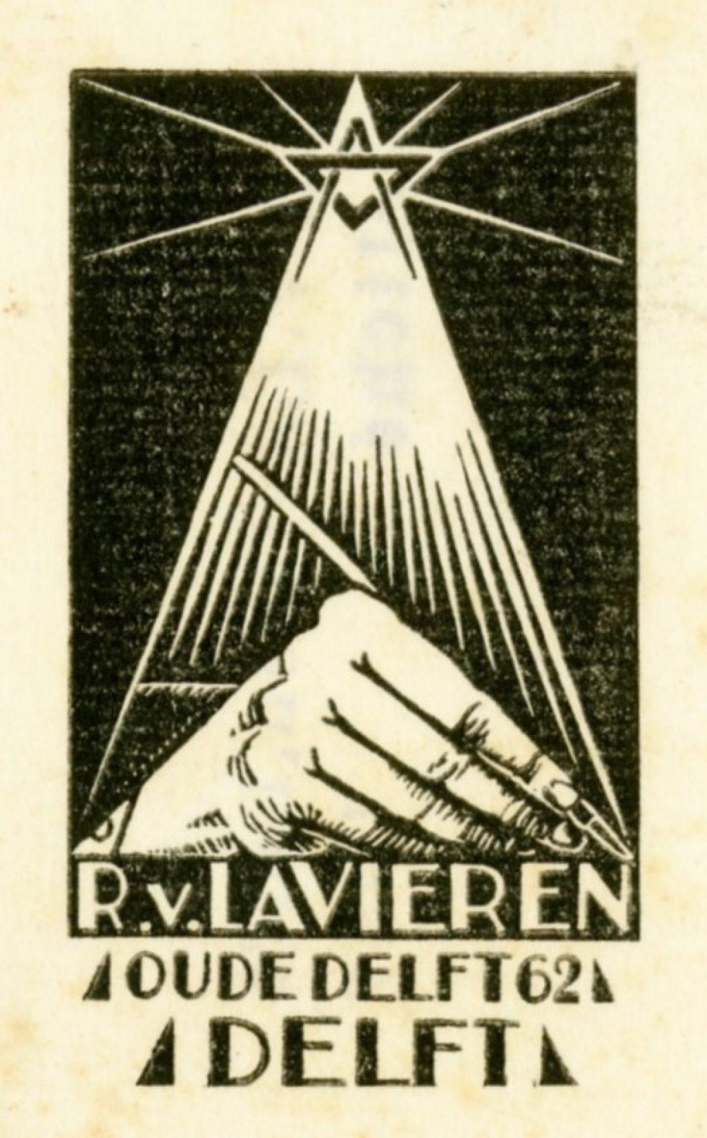 Ex librissen: Voor Rijk van Lavieren door hemzelf gemaakt (TMS 139219).