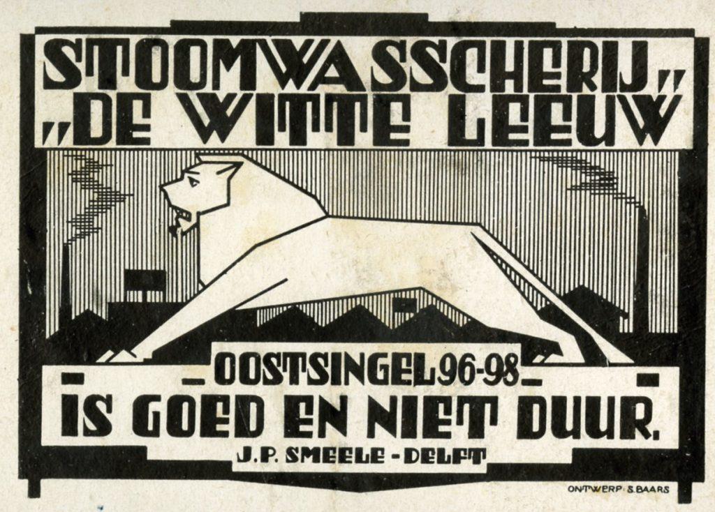 Reclame voor stoomwasserij De Witte Leeuw, door Sipke Baars, ca. 1920 (TMS 121270)