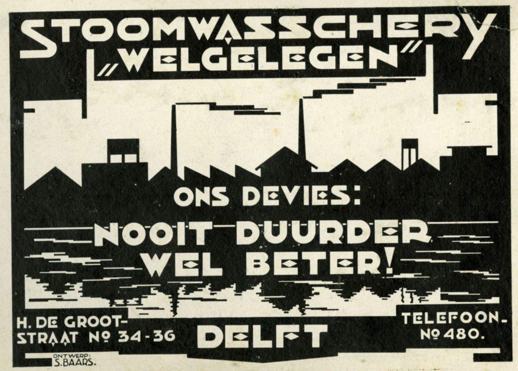 Reclame voor Stoom-, wasch- en strijkinrichting Welgelegen, door Sipke Baars, ca. 1920 (TMS 121273)
