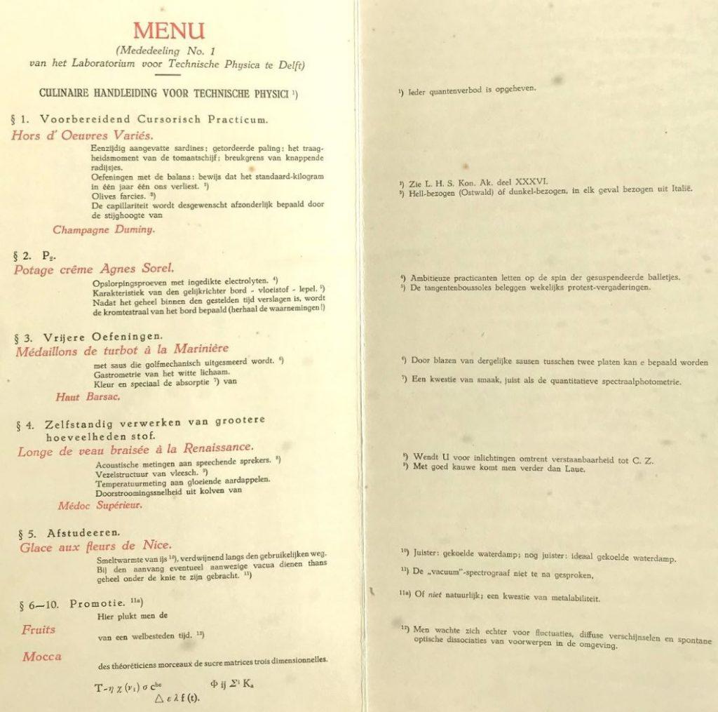 Menu ter gelegenheid van de opening van het Laboratorium voor Technische Physica, 1930. (Archief 433 inv.nr 102)