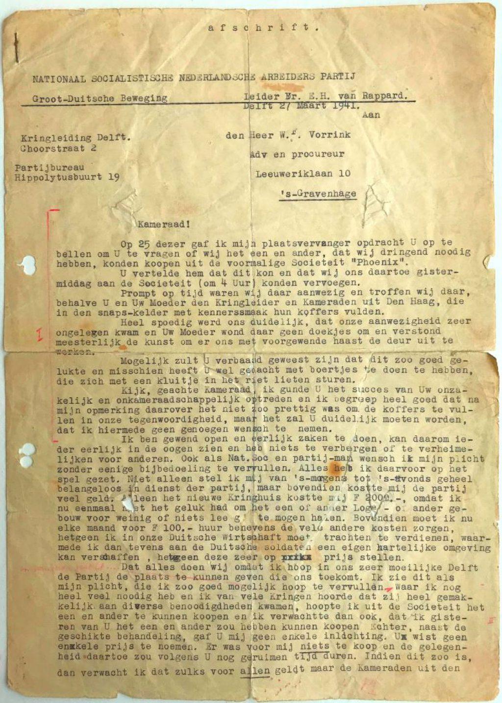 Brief van NSB-kringleider Willem aan W.F. Vorrink, 27-3-1941 (Archief 610, inv.nr 41)