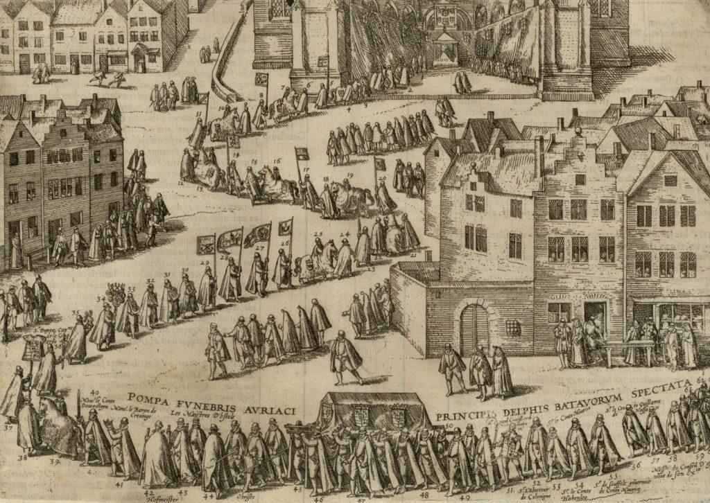 Bijzetting van Willem van Oranje in de Nieuwe Kerk, prent door Frans Hogenberg, c. 1585. (TMS 1329)