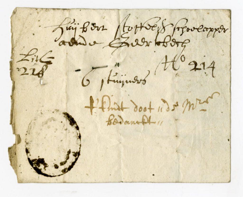 Bedelingsbriefje voor Huijbert Stoffelsz, schoenlapper aan de Geerweg. Het is ingeleverd na de dood van zijn kind, met dank aan de charitaatmeesters voor de ondersteuning. (Archief 447, inv.nr 1387)