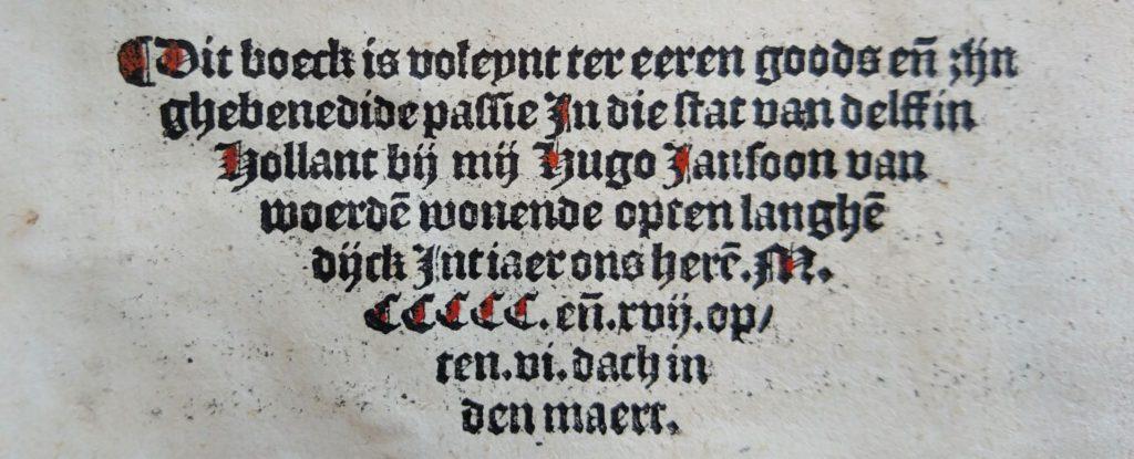 Colofon op de laatste bladzijde van Fasciculus mirre, in 1517 gedrukt in Delft. (Bibliotheek)