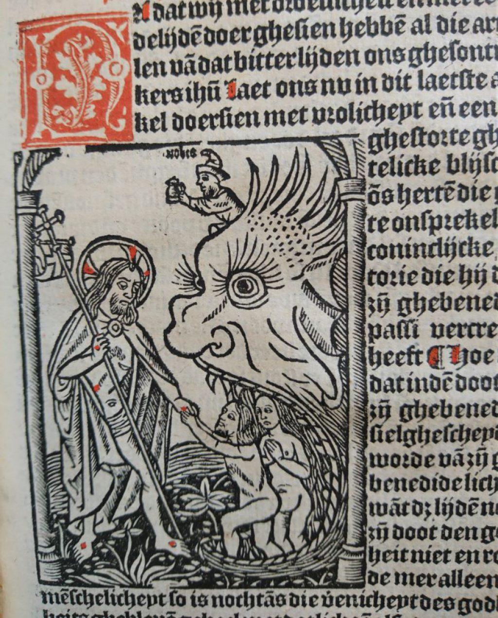 Christus redt zielen uit de mond van de hel. Houtsnede uit Fasciculus mirre, in 1517 gedrukt in Delft. (Bibliotheek)