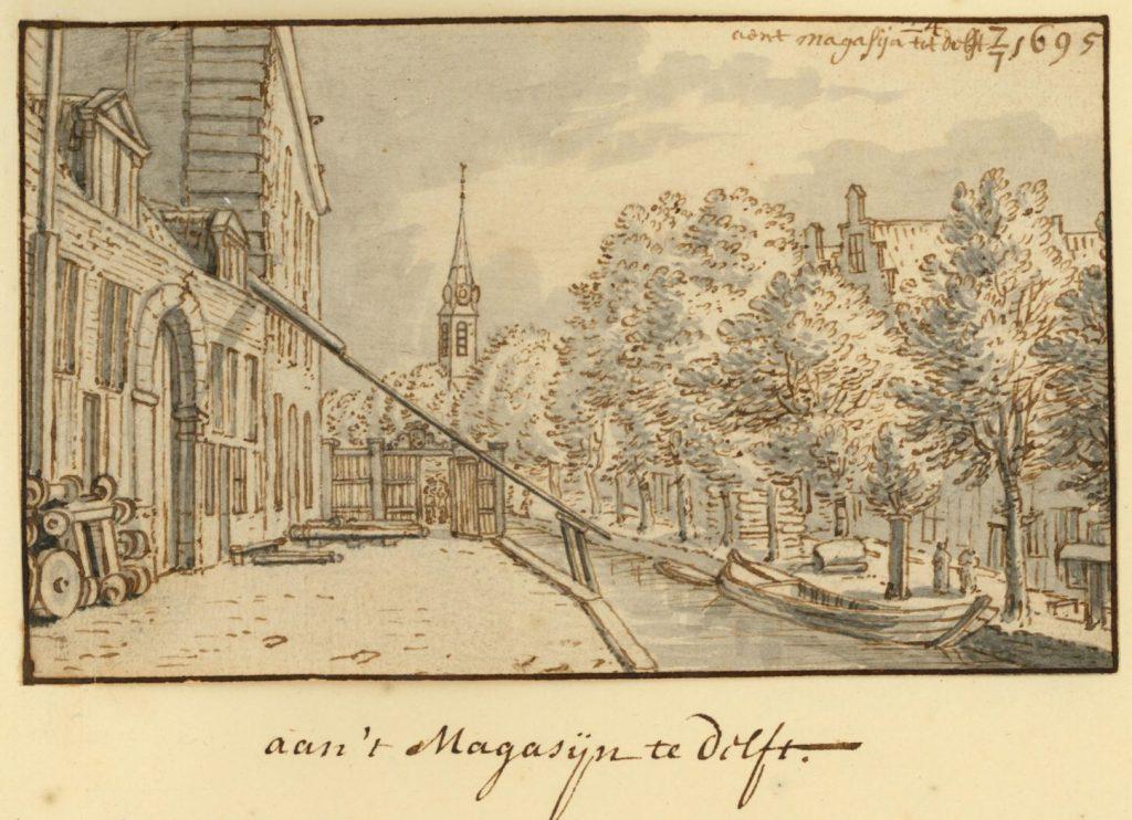 Tekening 'Aen 't Magasijn tot Delft' van Josua de Grave, 7 juli 1695. (TMS 5732)