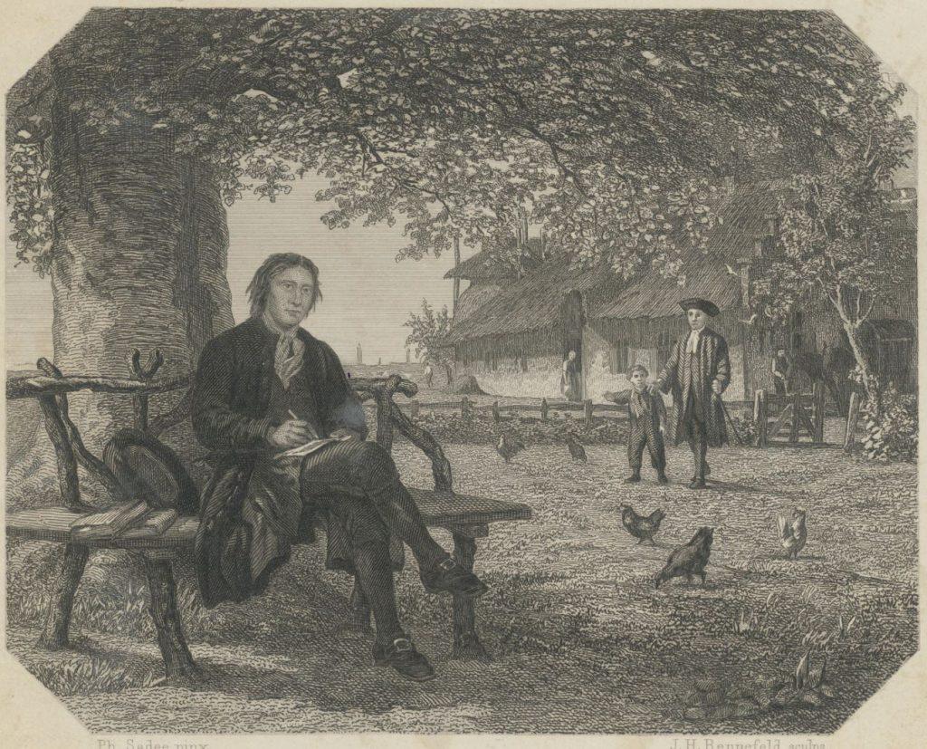 Poot op een bankje voor een boerderij; staalgravure van J.H.M.H. Rennefeld, c. 1865. (TMS 75035)