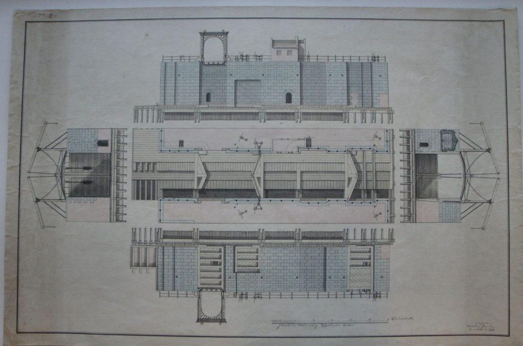Profieltekening van de nieuwe sluis in Delfshaven door Huybert van Straalen, 1777. (Archief 1, inv.nr 3807, TMS 262053)