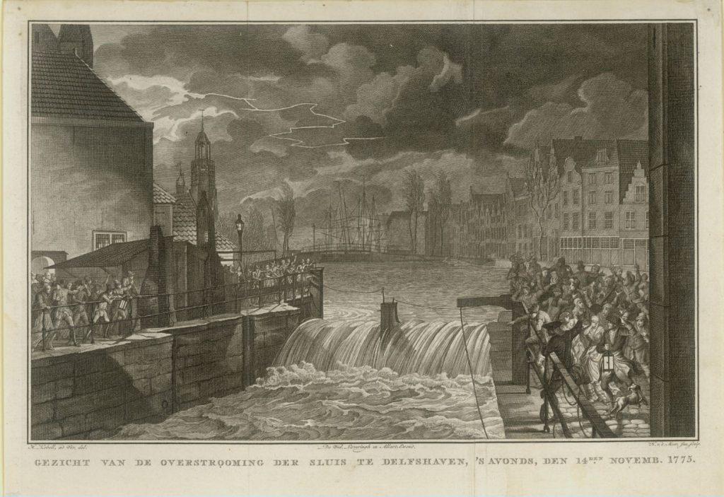 Gravure van de overstroming in Delfshaven op 14 november 1775 door Noach van der Meer II (1741-1822), uitgegeven door Wed. Johannes Allart tussen 1818 en 1828. (TMS 83103)