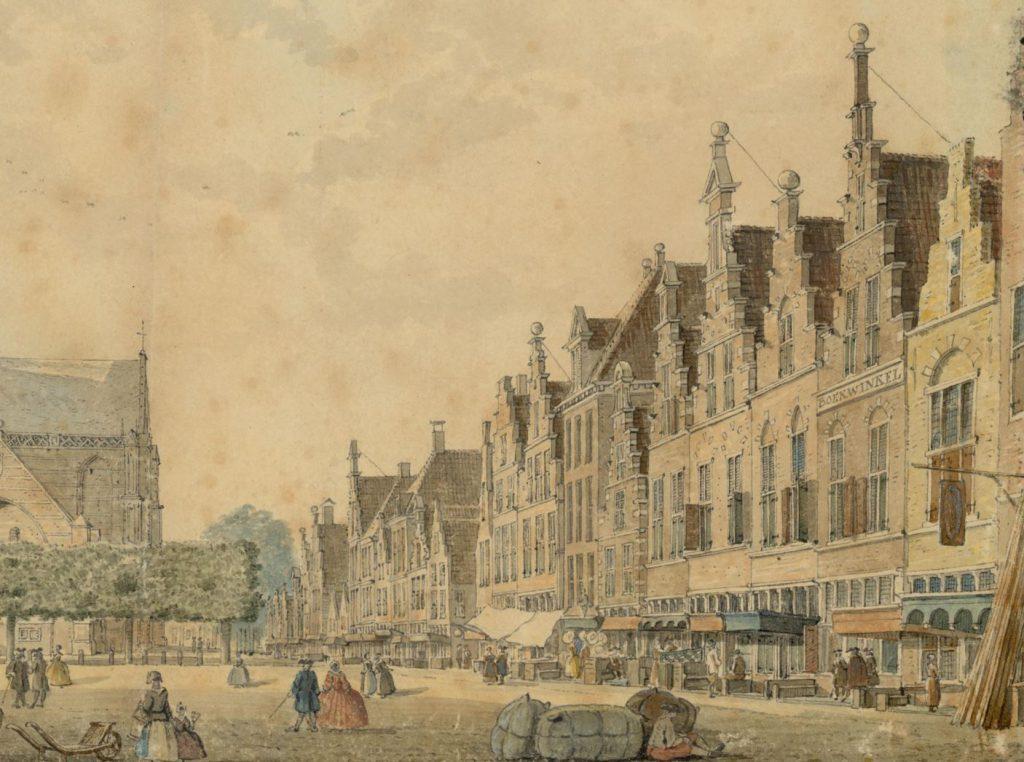 Detail van een aquarel van de Markt door Abraham de Haen uit 1743, met rechts de boekwinkel van de familie Voorstad. (TMS 58060)
