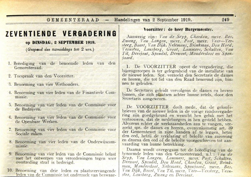 Handelingen gemeenteraad 2 september 1919: de eerste drie vrouwelijke gemeenteraadsleden in Delft. (Bibliotheek)