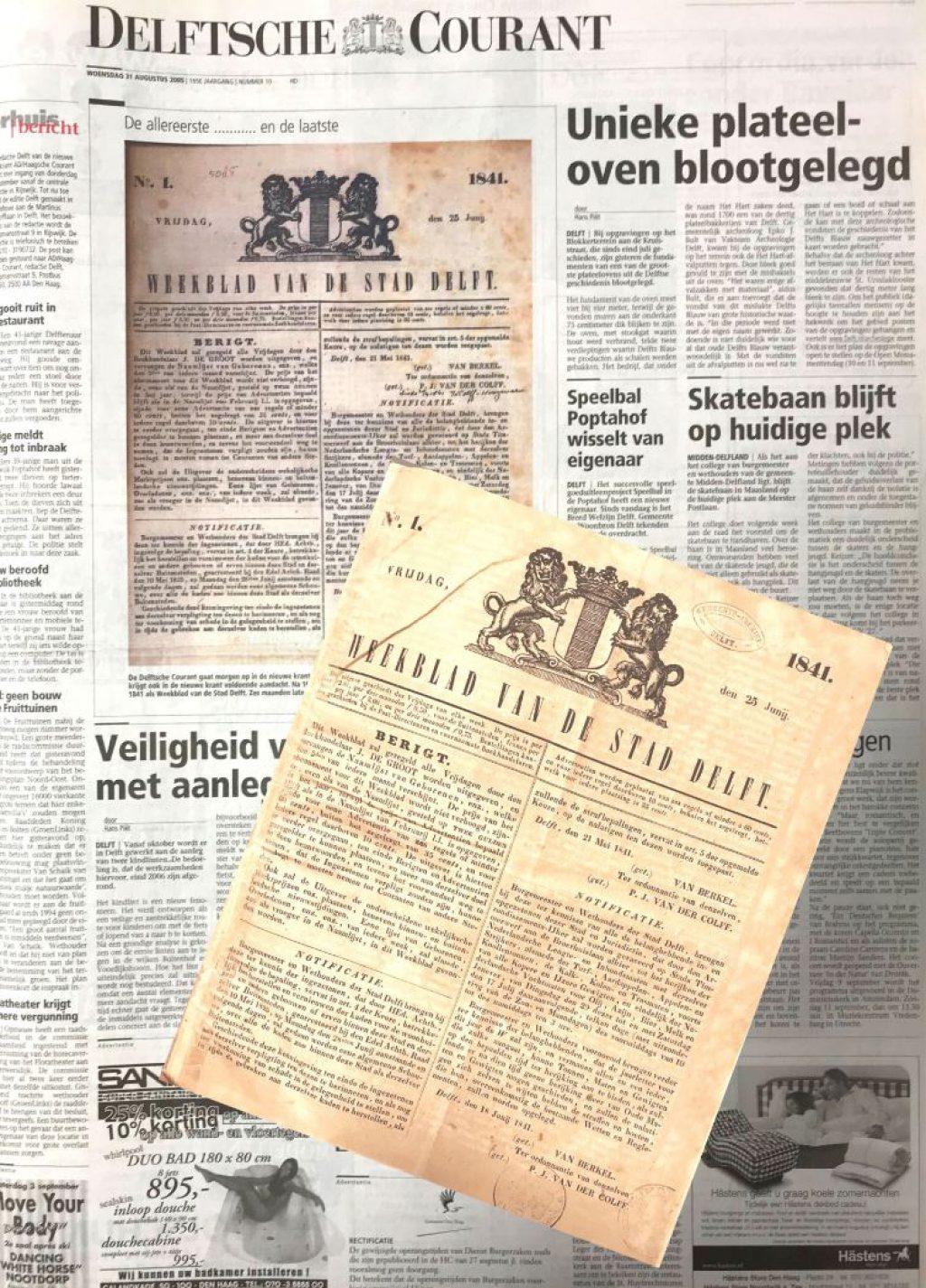 Delftsche Courant, de eerste van 25 juni 1841 en de laatste van 31 augustus 2005. (Bibliotheek)