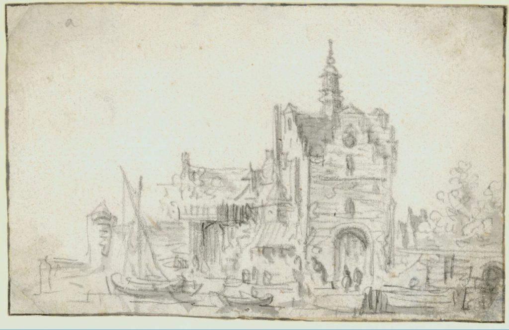 Schets van de Schiedamsepoort door Jan van Goyen, c. 1650. (TMS 59569)