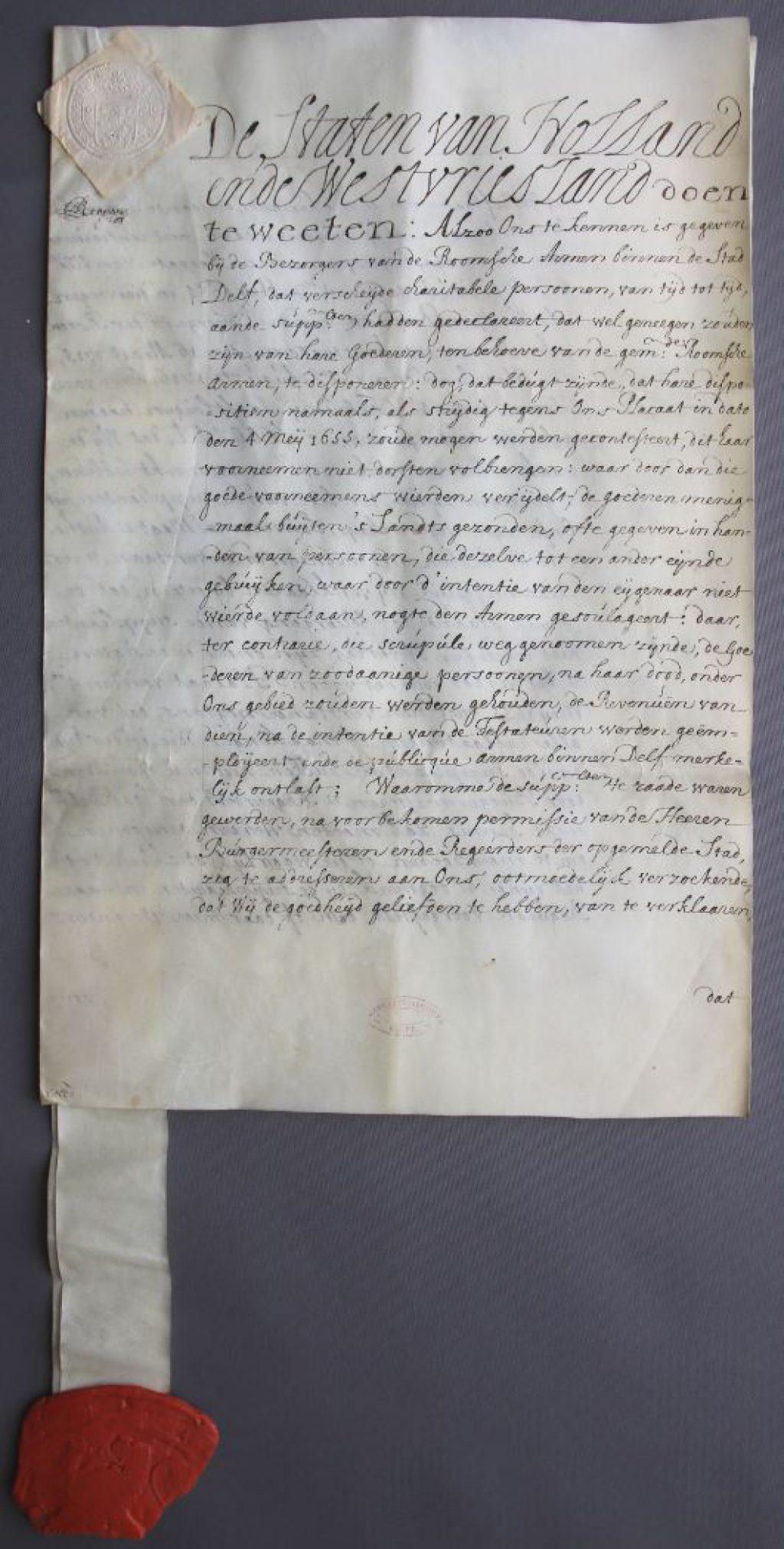 Vergunning van de Staten van Holland voor de armenbezorgers van de katholieke armen te Delft om legaten te aanvaarden, 1729. (Archief 1, inv.nr 2166, charter 7177)