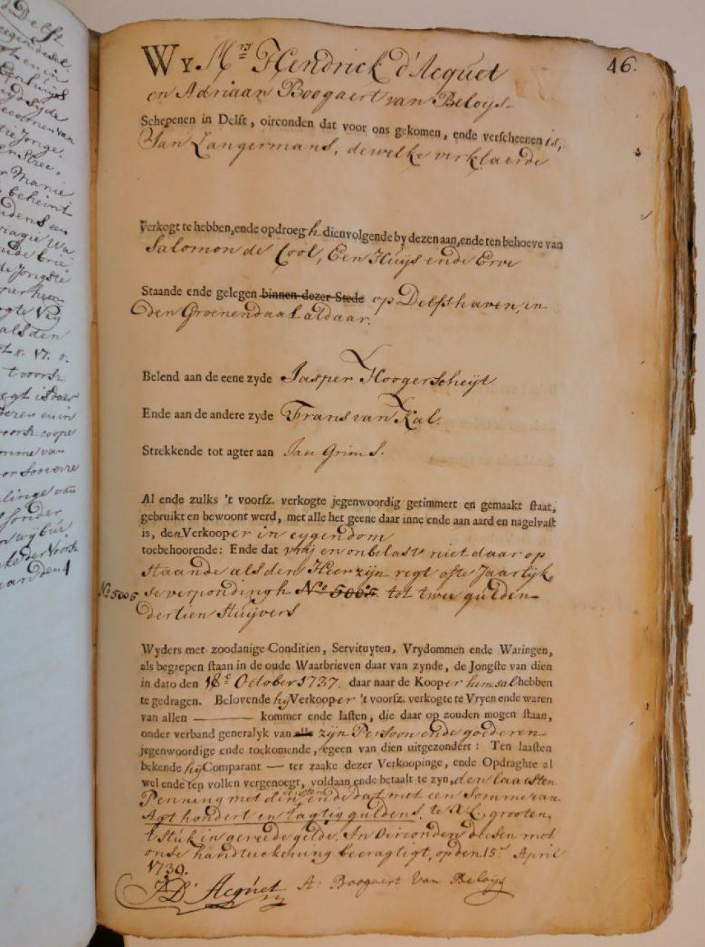 De eerste waarbrief op een voorgedrukt formulier, 15 april 1739. (Archief 1, inv.nr 2299