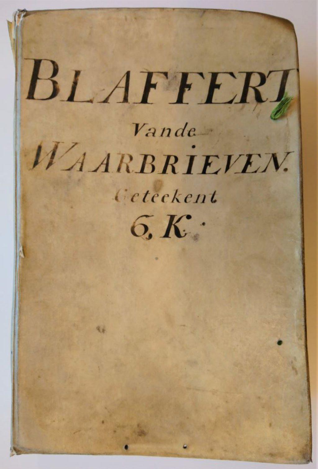 De 'blaffert' van de waarbrieven, deel 6K, 1739. (Archief 1, inv.nr 2299)