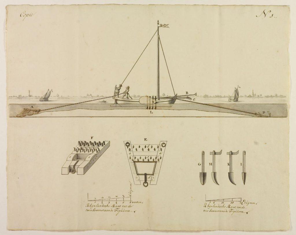 Tekening van de krabbelaar, ontworpen door Cornelis Velsen, 1750. (Archief 1, inv.nr 3377)