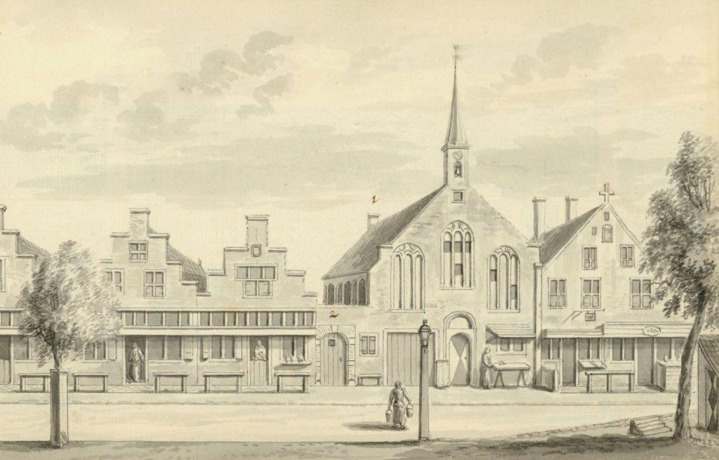 Het Dolhuis (nu de lutherse kerk) aan het Noordeinde op een tekening uit de achttiende eeuw. (TMS 5693)