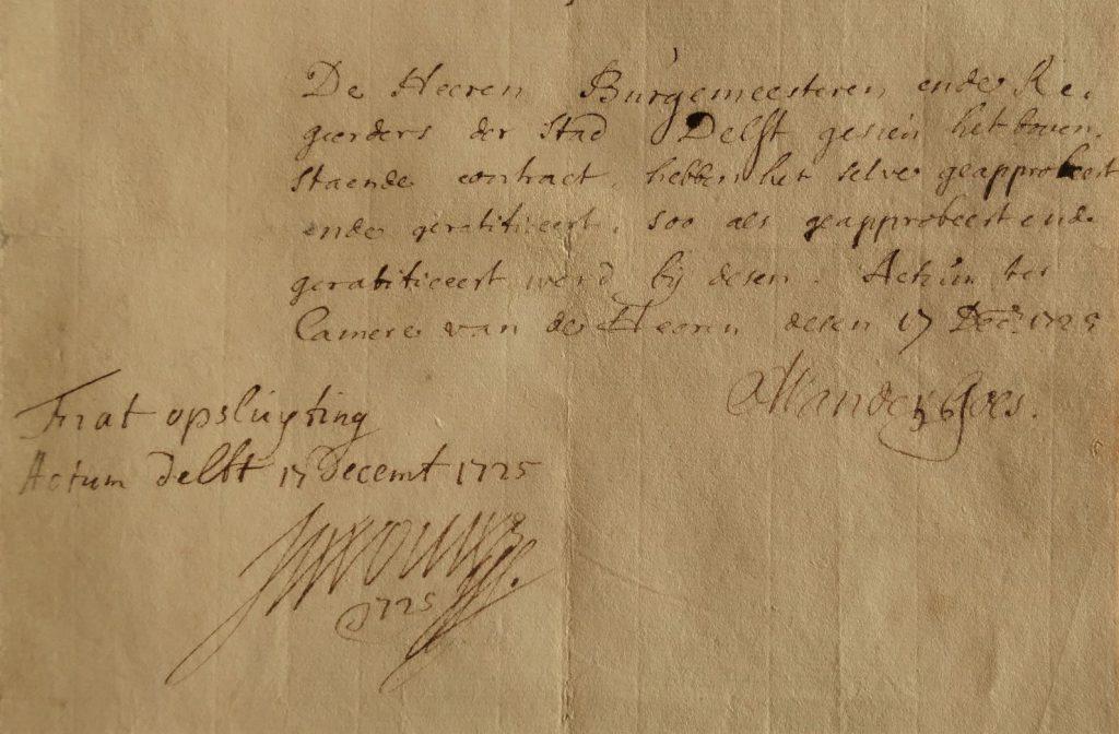 Het besluit van de burgemeesters om de drie vrouwen op te nemen in het Tuchthuis, en de verklaring van schout Van Wou dat dit is gebeurd, 1725. (Archief 261, inv.nr 964)