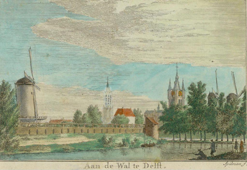 Gezicht op de stadswal, met links molen De Roos, op een achttiende-eeuwse gravure van Hendricus Spilman. (TMS 69129)