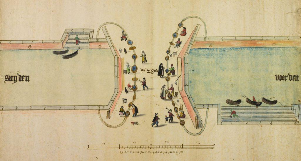 Vismarkt op de Jeronymusbrug tegenover de Nieuwstraat, omstreeks 1590. (TMS 64774)