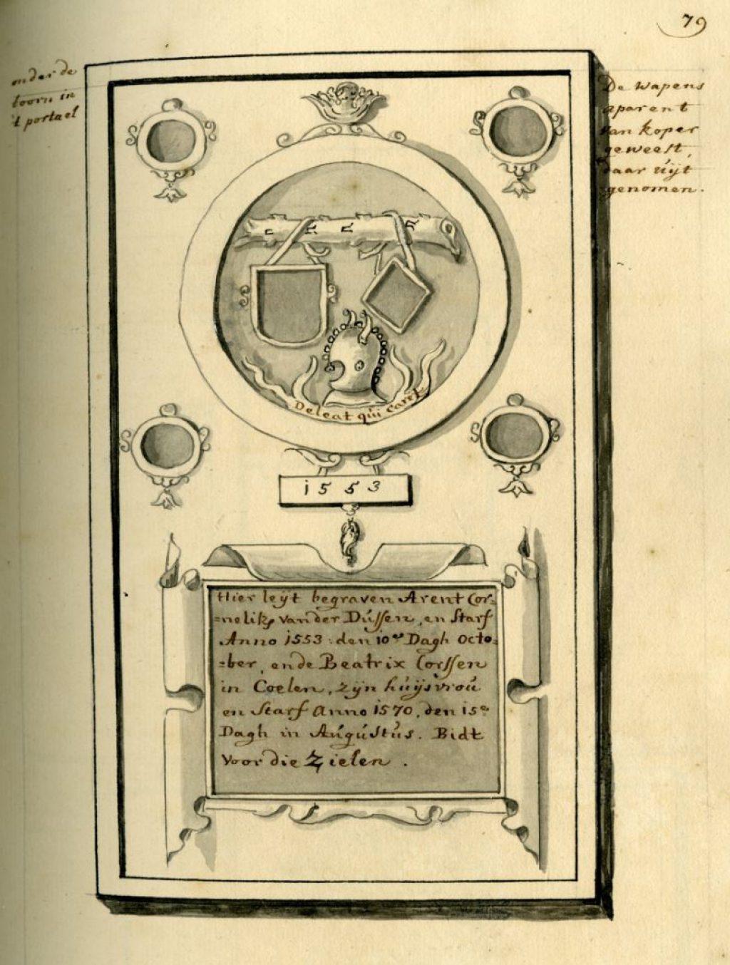 Bladzijde uit Collectio Monumentorum Sepulcralium met de grafsteen van Arent Cornelisz van der Dussen, overleden in 1553. (Archief 176, inv.nr 23)