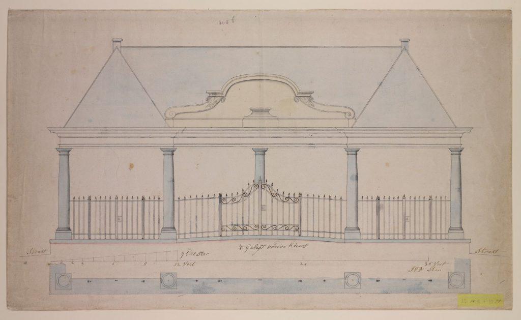 Ontwerptekening voor de korenbeurs door Isaak van der Star, 1777. (TMS 64419)