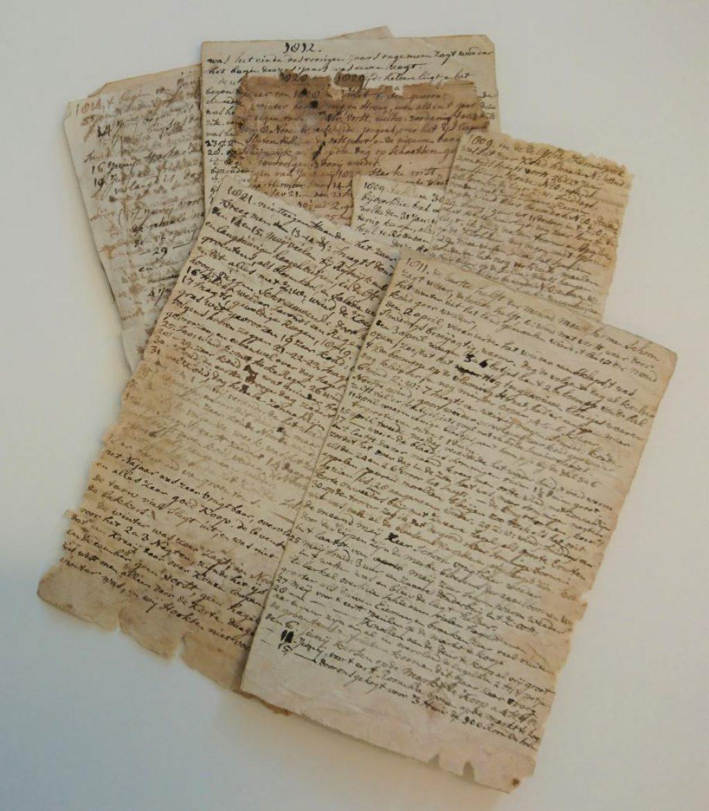 Aantekeningen van Frederik Berghuys, 1809-1829. (Archief 191, inv.nr 24. Het origineel is niet raadpleegbaar, wel de uitgetypte versie van L.J. Meilink-Hoedemaker, bibliotheek 67 F 49)