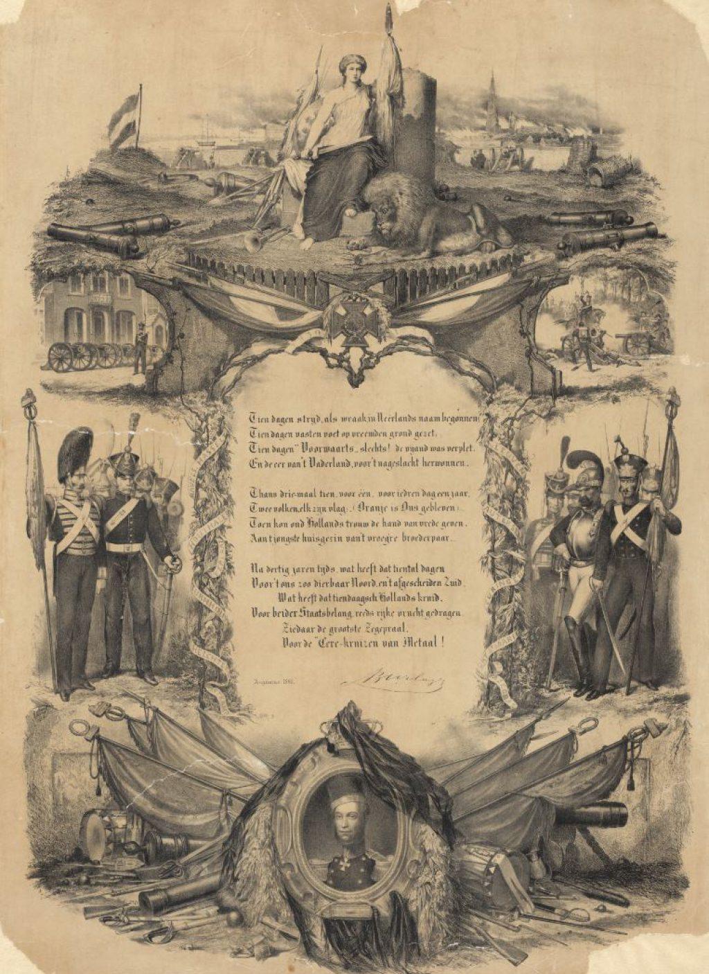 Joost Hendrik Burlage, Herdenkingsprent Tiendaagse Veldtocht, ca. 1861. (TMS 109114)