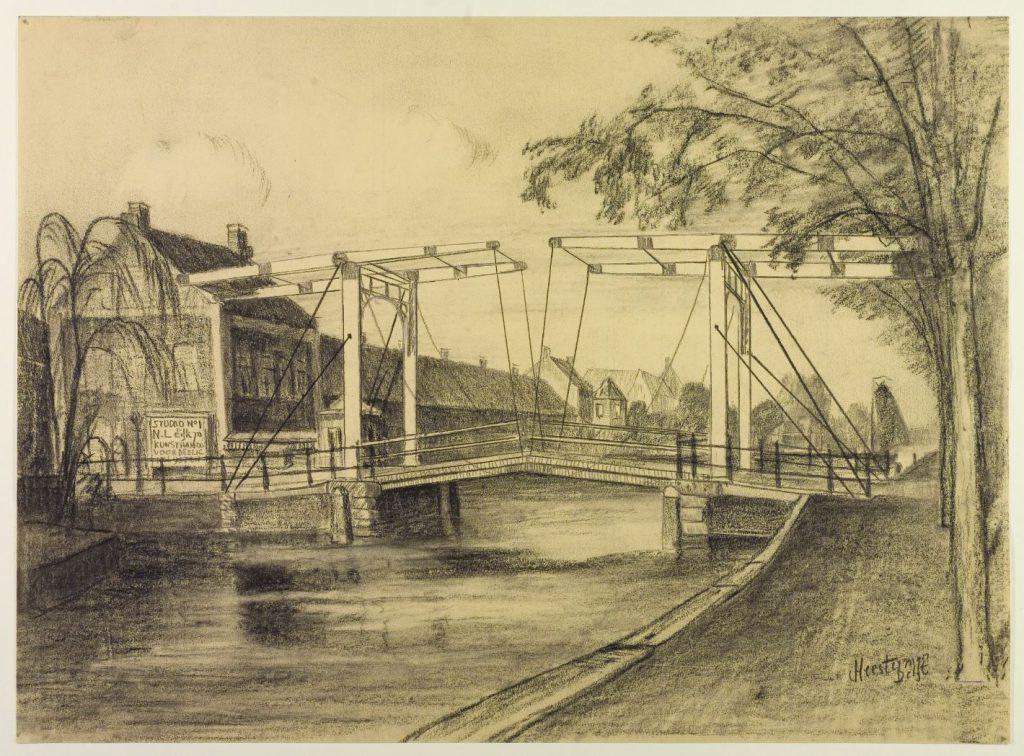 Jan Heesterman, krijttekening van de Koepoortbrug op de oorspronkelijke plek, vóór 1936. (TMS 64749)