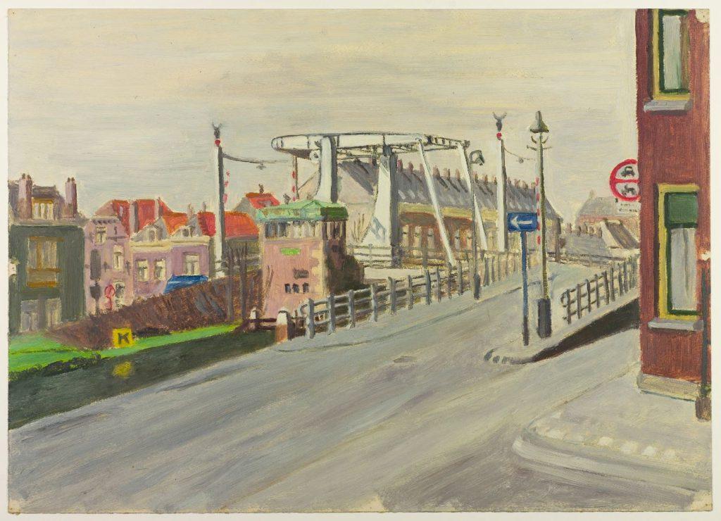 Arthur Tutein Nolthenius, schilderij van de Koepoortbrug op zijn nieuwe plek, gezien vanaf de Oostsingel, ca. 1950. (TMS 64750)