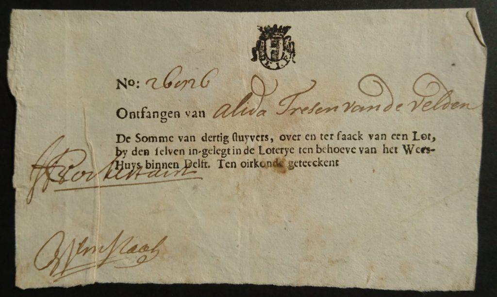 Betalingsbewijs voor lotnummer 26826 van de Weeshuisloterij van 1695. (Archief 201, inv.nr 373)