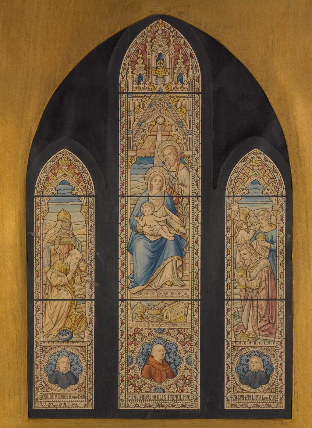 J.H. Tonnaer, Ontwerp voor het Driekoningenraam in de Maria van Jessekerk, ca. 1905 (TMS 64457)