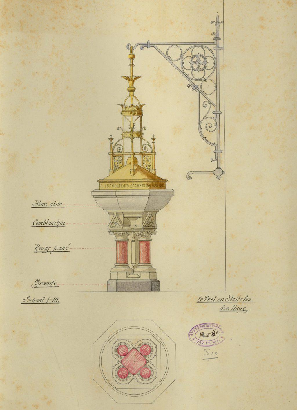 Te Poel & Stoltefus, Ontwerp voor het doopvont in de Maria van Jessekerk, ca. 1905 (TMS 64463)